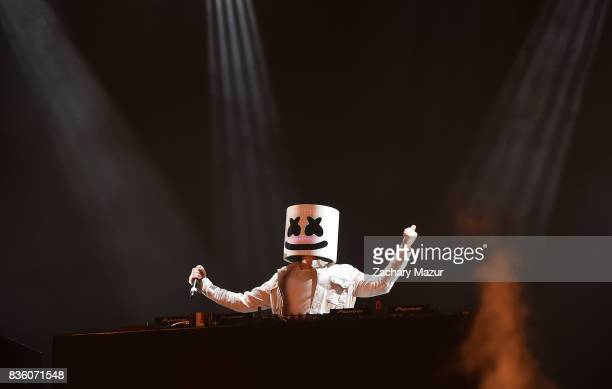 Marshmello performs at 2017 Billboard HOT 100 Music Festival at Northwell Health at Jones Beach Theater on August 20 2017 in Wantagh New York