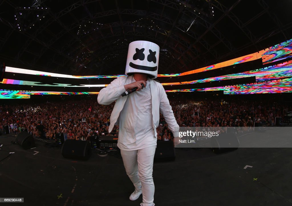 Marshmello performs in the Sahara Tent during day 3 of the Coachella Valley Music And Arts Festival (Weekend 1) at the Empire Polo Club on April 16, 2017 in Indio, California.