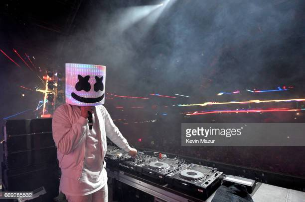 Marshmello performs on the Sahara stage during day 3 of the Coachella Valley Music And Arts Festival at the Empire Polo Club on April 16 2017 in...