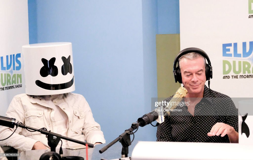 Marshmello (L) speaks with host Elvis Duran during 'The Elvis Duran Z100 Morning Show' at Z100 Studio on August 21, 2017 in New York City.