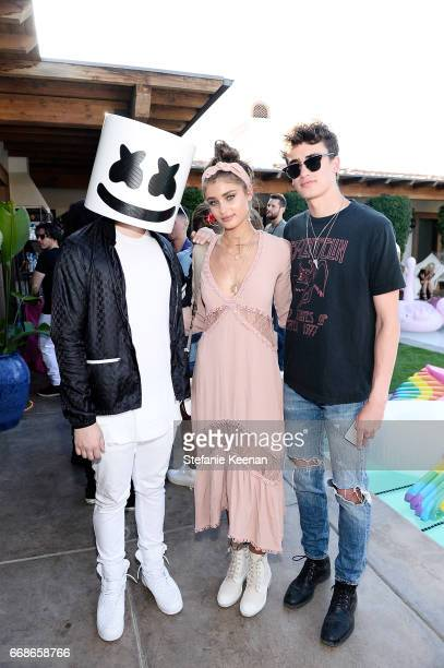 Marshmello Taylor Hill and guest attend Victoria's Secret Angels Celebrate the Sexy Little Things Launch at the Angel Oasis on April 14 2017 in Indio...