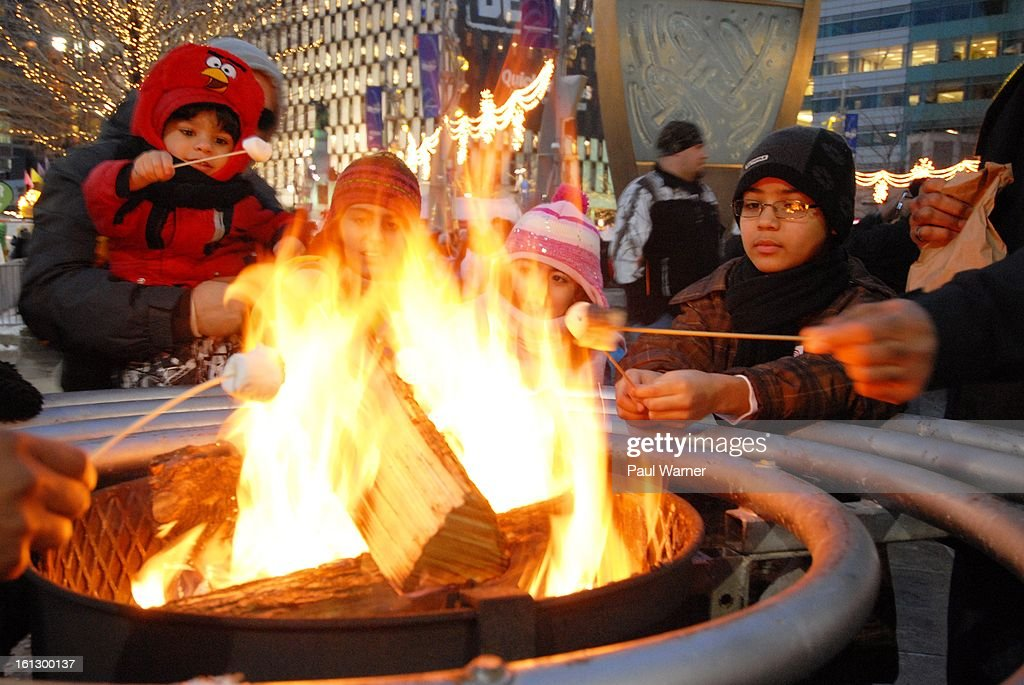 Marshmellows are roasted at Motown Winter Blast at Campus Martius Park on February 9, 2013 in Detroit, Michigan.