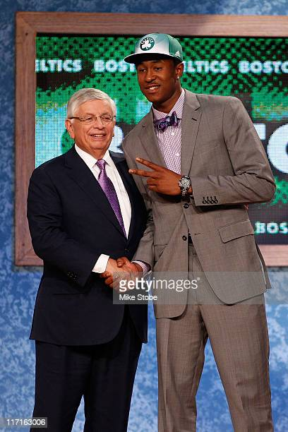 Marshon Brooks from Providence greets NBA Commissioner David Stern after Brooks was drafted overall by the Boston Celtics in the first round during...