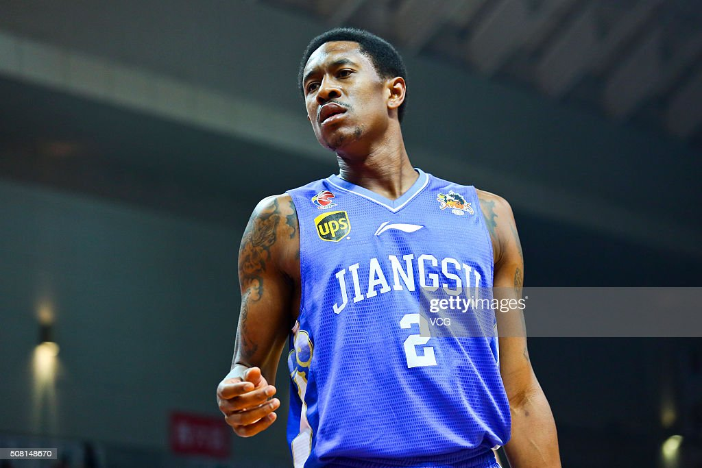<a gi-track='captionPersonalityLinkClicked' href=/galleries/search?phrase=MarShon+Brooks&family=editorial&specificpeople=4884862 ng-click='$event.stopPropagation()'>MarShon Brooks</a> #2 of Jiangsu Dragons reacts during the 37th round of the Chinese Basketball Association 15/16 game between Zhejiang Golden Bulls and Jiangsu Dragons at Meihu Gymnasium on February 3, 2016 in Yiwu, China.