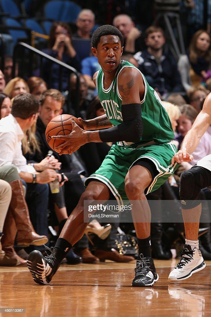 MarShon Brooks #12 of the Boston Celtics passes the ball against the Minnesota Timberwolves November 16, 2013 at Target Center in Minneapolis, Minnesota.