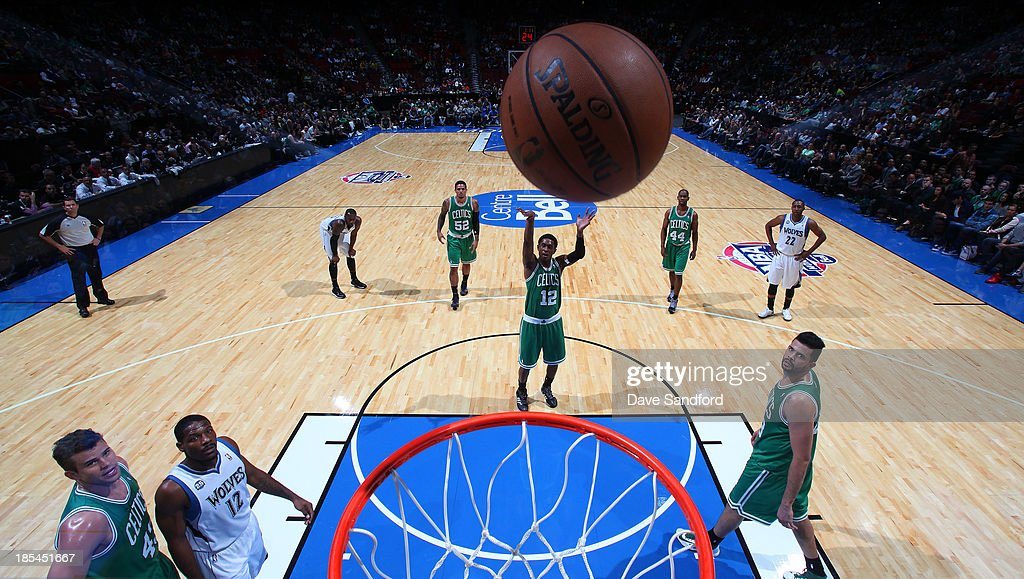 <a gi-track='captionPersonalityLinkClicked' href=/galleries/search?phrase=MarShon+Brooks&family=editorial&specificpeople=4884862 ng-click='$event.stopPropagation()'>MarShon Brooks</a> #12 of the Boston Celtics sinks a free throw against the Minnesota Timberwolves during their NBA pre-season game at the Bell Centre on October 20, 2013 in Montreal, Quebec, Canada.