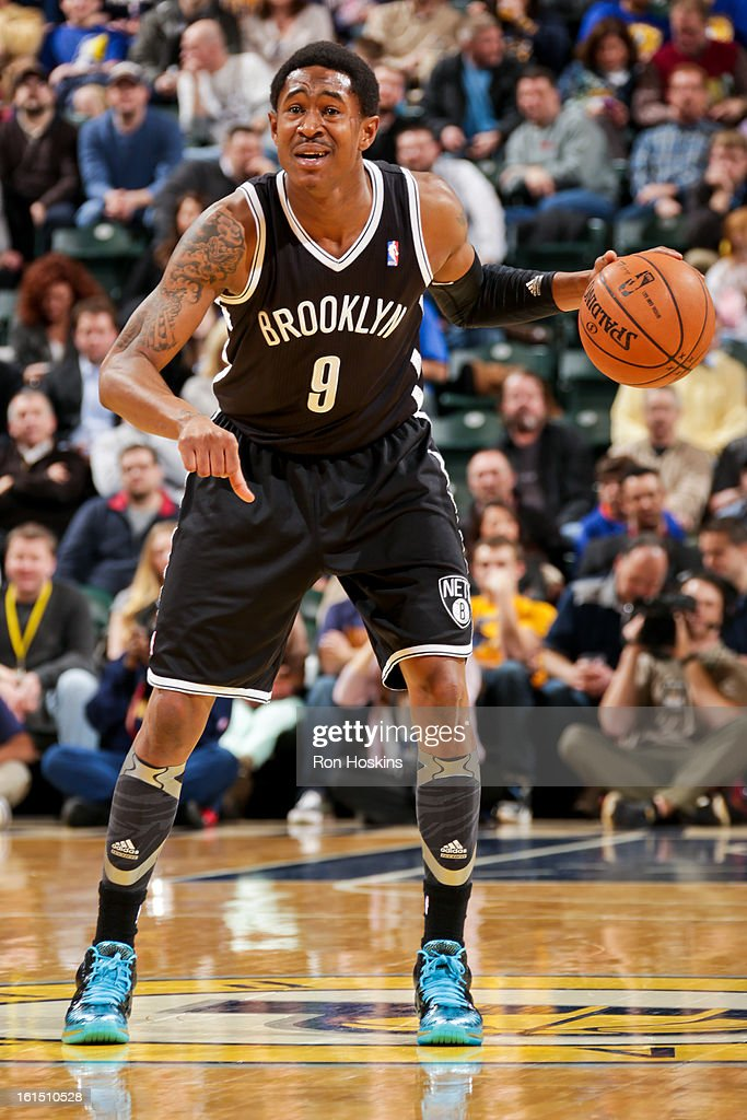 <a gi-track='captionPersonalityLinkClicked' href=/galleries/search?phrase=MarShon+Brooks&family=editorial&specificpeople=4884862 ng-click='$event.stopPropagation()'>MarShon Brooks</a> #9 of the Brooklyn Nets controls the ball against the Indiana Pacers on February 11, 2013 at Bankers Life Fieldhouse in Indianapolis, Indiana.