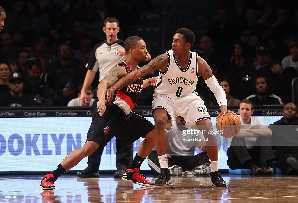 MarShon Brooks #9 of the Brooklyn Nets dribbles the ball against the Portland Trail Blazers at the Barclays Center on November 25, 2012 in the Brooklyn borough of New York City.