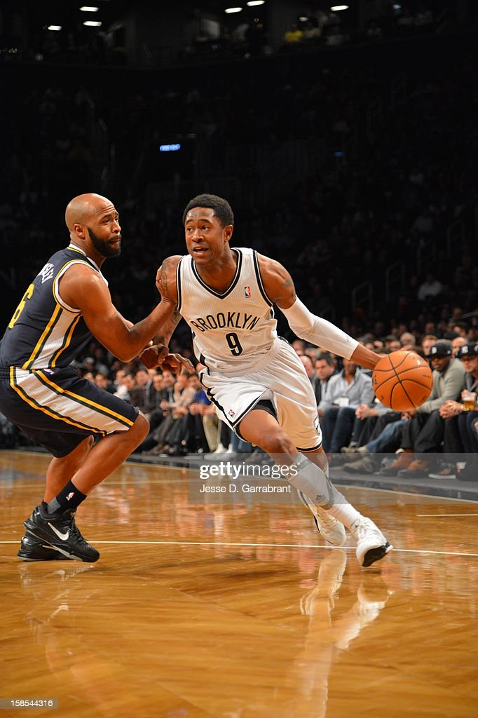 <a gi-track='captionPersonalityLinkClicked' href=/galleries/search?phrase=MarShon+Brooks&family=editorial&specificpeople=4884862 ng-click='$event.stopPropagation()'>MarShon Brooks</a> #9 of the Brooklyn Nets drives to the basket against <a gi-track='captionPersonalityLinkClicked' href=/galleries/search?phrase=Jamaal+Tinsley&family=editorial&specificpeople=202203 ng-click='$event.stopPropagation()'>Jamaal Tinsley</a> #6 of the Utah Jazz during the game at the Barclays Center on December 18, 2012 in Brooklyn, New York.
