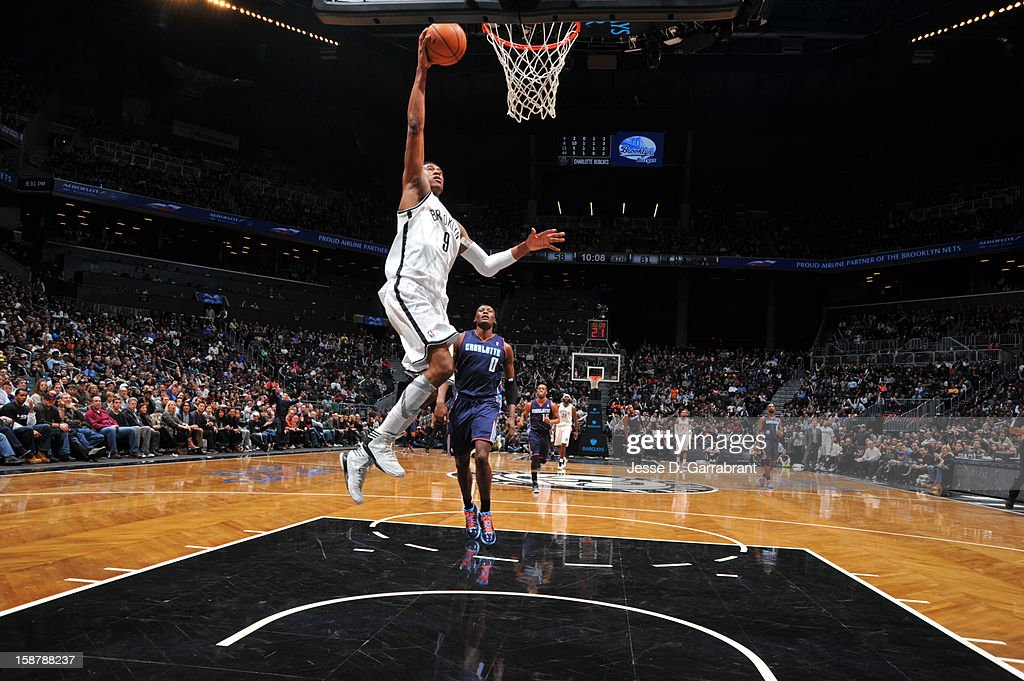 MarShon Brooks #9 of the Brooklyn Nets drives to the basket against the Charlotte Bobcats at the Barclays Center on December 28, 2012 in Brooklyn, New York.