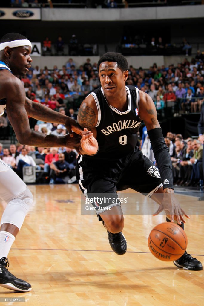 MarShon Brooks #9 of the Brooklyn Nets drives to the basket against the Dallas Mavericks on March 20, 2013 at the American Airlines Center in Dallas, Texas.
