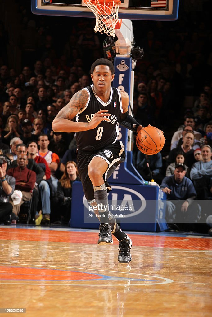 MarShon Brooks #9 of the Brooklyn Nets drives up-court against the New York Knicks on January 21, 2013 at Madison Square Garden in New York City.