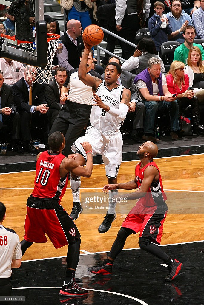 <a gi-track='captionPersonalityLinkClicked' href=/galleries/search?phrase=MarShon+Brooks&family=editorial&specificpeople=4884862 ng-click='$event.stopPropagation()'>MarShon Brooks</a> #9 of the Brooklyn Nets goes up for the shot against the Toronto Raptors at the Barclays Center on January 15, 2013 in the Brooklyn borough of New York City in New York City.
