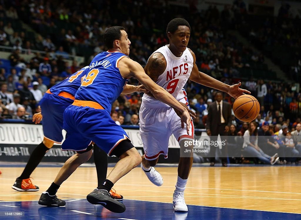MarShon Brooks #9 of the Brooklyn Nets in action against Pablo Prigioni #9 of the New York Knicks during a preseason game at Nassau Coliseum on October 24 2012 in Uniondale, New York The Knicks defeated the Nets 97-95.