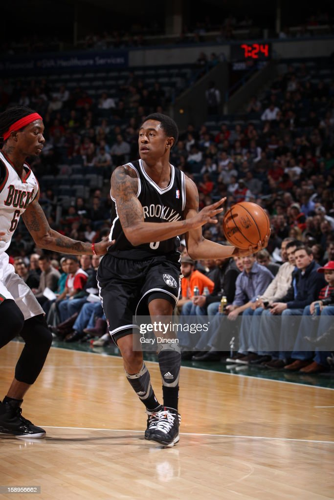 <a gi-track='captionPersonalityLinkClicked' href=/galleries/search?phrase=MarShon+Brooks&family=editorial&specificpeople=4884862 ng-click='$event.stopPropagation()'>MarShon Brooks</a> #9 of the Brooklyn Nets passes the ball against the Milwaukee Bucks on December 26, 2012 at the BMO Harris Bradley Center in Milwaukee, Wisconsin.