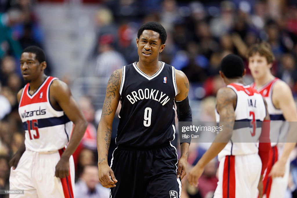 <a gi-track='captionPersonalityLinkClicked' href=/galleries/search?phrase=MarShon+Brooks&family=editorial&specificpeople=4884862 ng-click='$event.stopPropagation()'>MarShon Brooks</a> #9 of the Brooklyn Nets reacts after the Washington Wizards scored during the first half at Verizon Center on January 4, 2013 in Washington, DC.