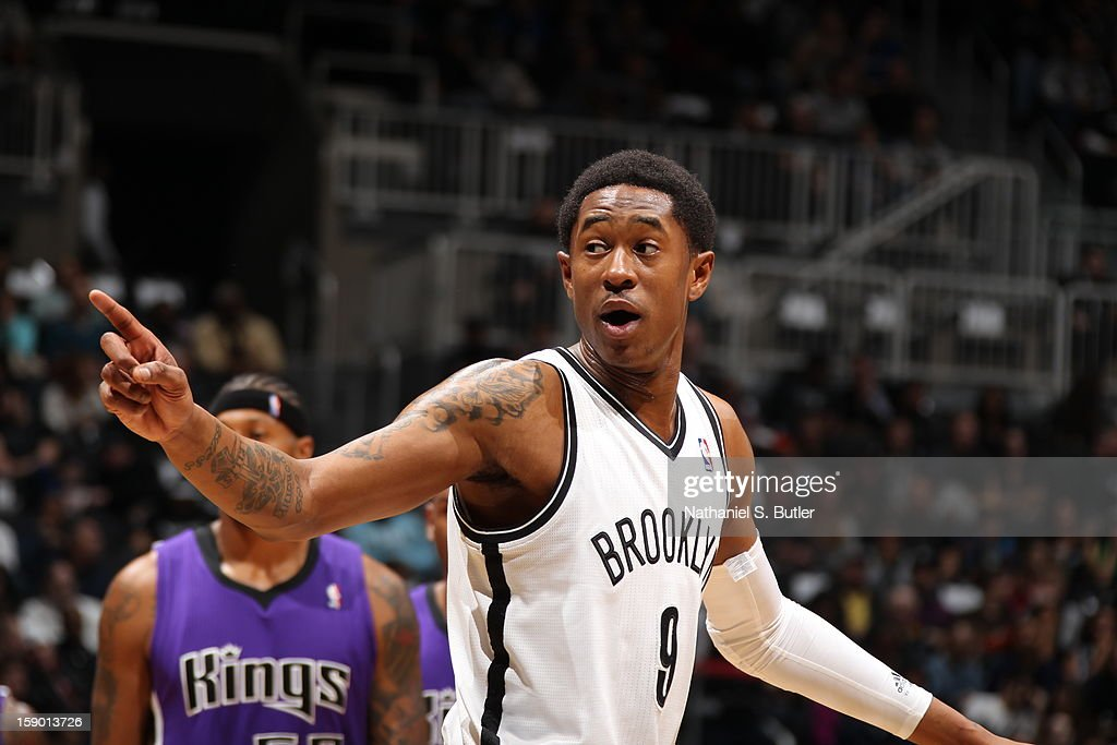 <a gi-track='captionPersonalityLinkClicked' href=/galleries/search?phrase=MarShon+Brooks&family=editorial&specificpeople=4884862 ng-click='$event.stopPropagation()'>MarShon Brooks</a> #9 of the Brooklyn Nets reacts during the game against the Sacramento Kings on January 5, 2013 at the Barclays Center in the Brooklyn borough of New York City.