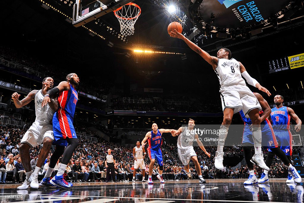 <a gi-track='captionPersonalityLinkClicked' href=/galleries/search?phrase=MarShon+Brooks&family=editorial&specificpeople=4884862 ng-click='$event.stopPropagation()'>MarShon Brooks</a> #9 of the Brooklyn Nets shoots a layup against the Detroit Pistons at the Barclays Center on December 14, 2012 in the Brooklyn borough of New York City.