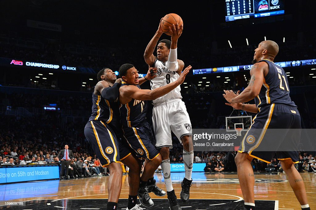 <a gi-track='captionPersonalityLinkClicked' href=/galleries/search?phrase=MarShon+Brooks&family=editorial&specificpeople=4884862 ng-click='$event.stopPropagation()'>MarShon Brooks</a> #9 of the Brooklyn Nets shoots the ball against the Indiana Pacers during the game at the Barclays Center on January 13, 2013 in Brooklyn, New York.