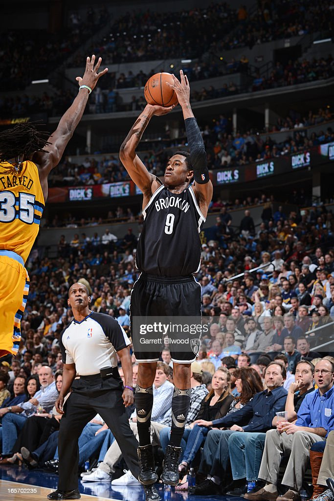 <a gi-track='captionPersonalityLinkClicked' href=/galleries/search?phrase=MarShon+Brooks&family=editorial&specificpeople=4884862 ng-click='$event.stopPropagation()'>MarShon Brooks</a> #9 of the Brooklyn Nets takes a shot against the Denver Nuggets on March 29, 2013 at the Pepsi Center in Denver, Colorado.