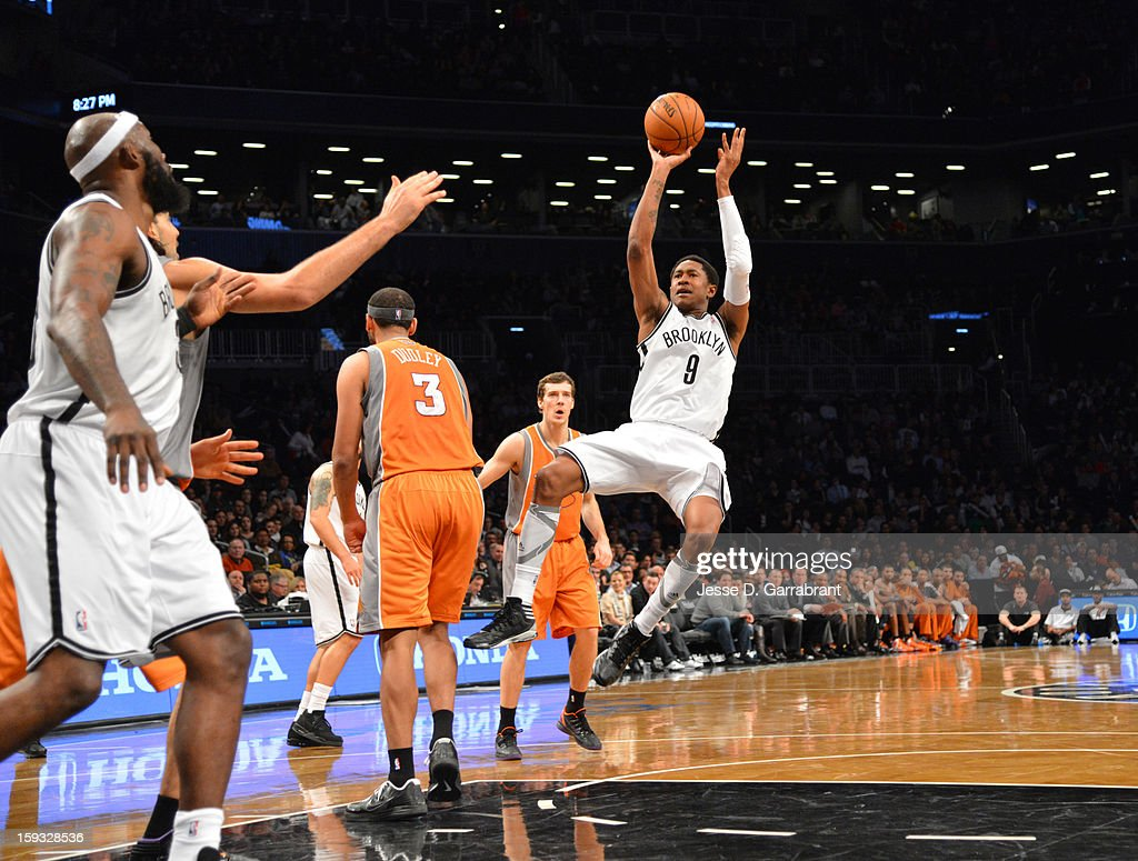 MarShon Brooks #9 of the Brooklyn Nets takes a shot against the Phoenix Suns during the game at the Barclays Center on January 11, 2013 in Brooklyn, New York.