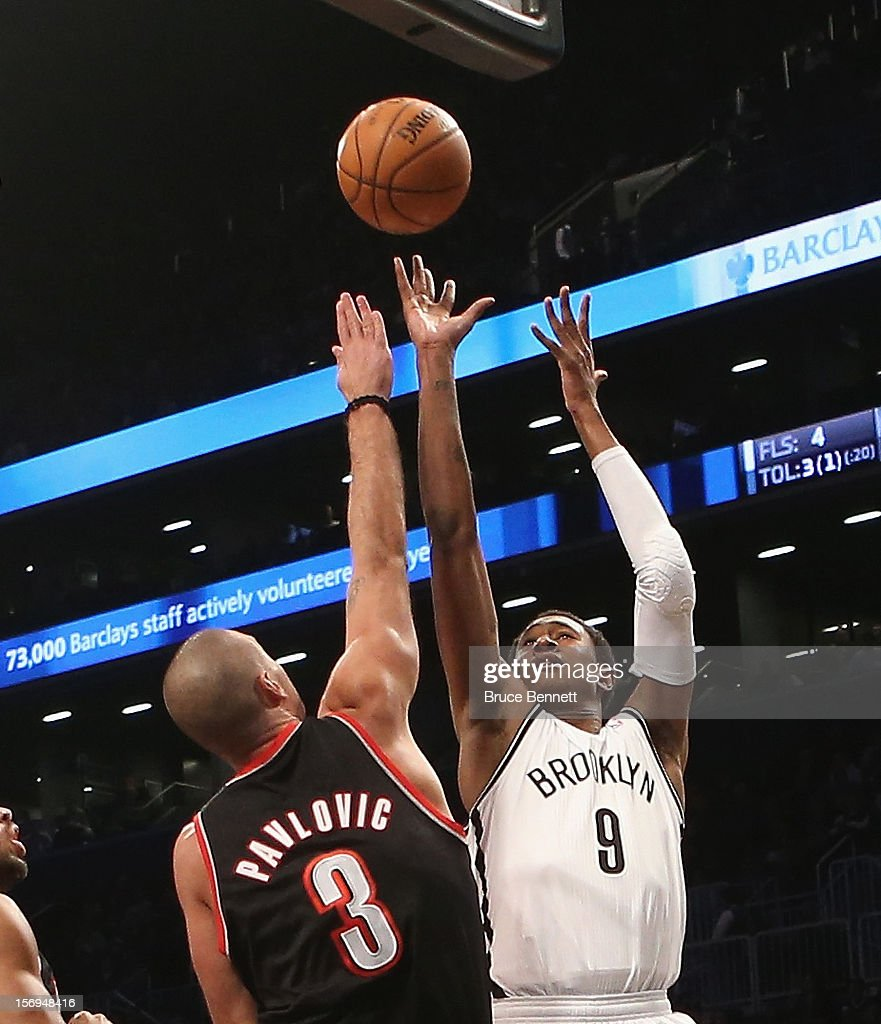 MarShon Brooks #9 of the Brooklyn Nets takes the shot against the Portland Trail Blazers at the Barclays Center on November 25, 2012 in the Brooklyn borough of New York City.