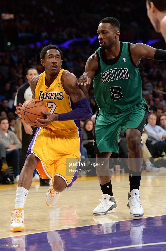 <a gi-track='captionPersonalityLinkClicked' href=/galleries/search?phrase=MarShon+Brooks&family=editorial&specificpeople=4884862 ng-click='$event.stopPropagation()'>MarShon Brooks</a> #2 of the Los Angeles Lakers drives to the basket against Jeff Green #8 of the Boston Celtics at STAPLES Center on February 21, 2014 in Los Angeles, California.