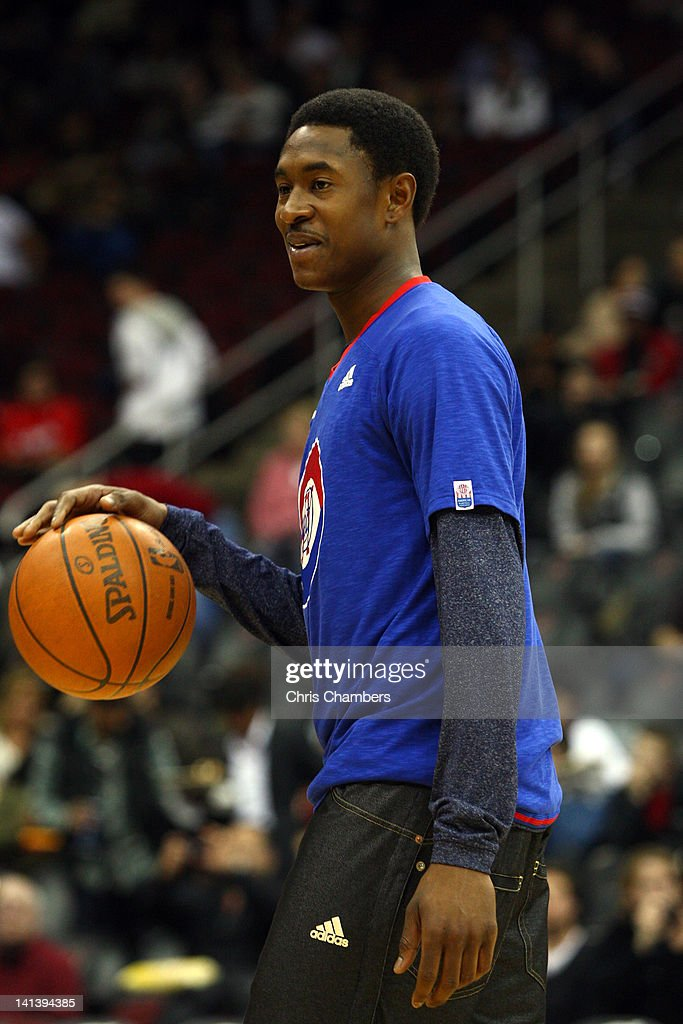 <a gi-track='captionPersonalityLinkClicked' href=/galleries/search?phrase=MarShon+Brooks&family=editorial&specificpeople=4884862 ng-click='$event.stopPropagation()'>MarShon Brooks</a> #9 of the New Jersey Nets smiles during warm ups against the Los Angeles Clippers at Prudential Center on March 7, 2012 in Newark, New Jersey.