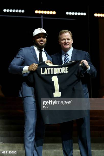 Marshon Lattimore of Ohio State poses with Commissioner of the National Football League Roger Goodell after being picked overall by the New Orleans...
