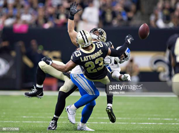 Marshon Lattimore of the New Orleans Saints breaks up a pass thrown to Golden Tate of the Detroit Lions at MercedesBenz Superdome on October 15 2017...