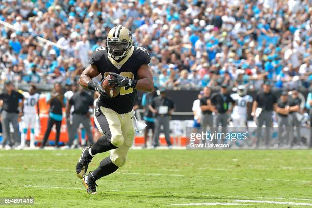 Marshon Lattimore of the New Orleans Saints runs against the Carolina Panthers during their game at Bank of America Stadium on September 24 2017 in...