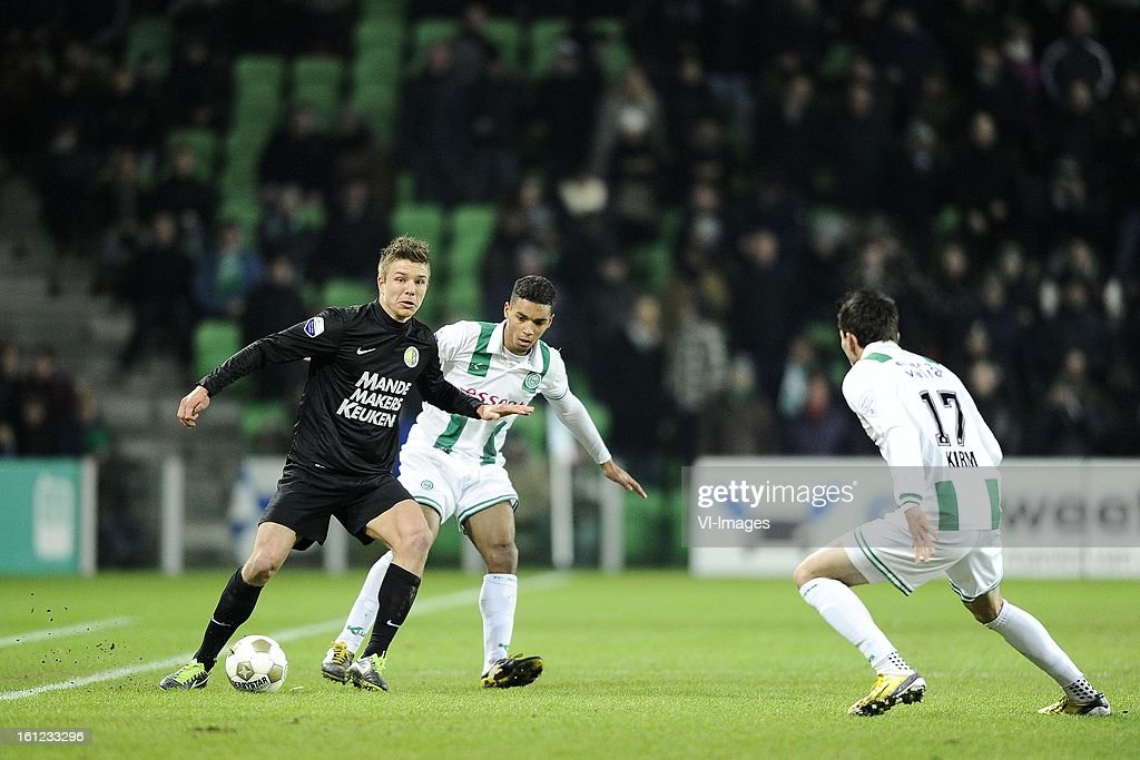 Mart Lieder of RKC Waalwijk, Johan Kappelhof of FC Groningen, Andraz Kirm of FC Groningen, during the Dutch Eredivisie match between FC Groningen and RKC Waalwijk at the Euroborg on february 9, 2013 in Groningen, The Netherlands