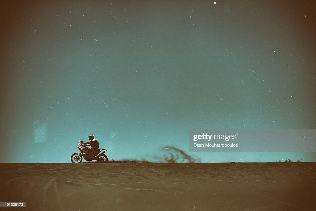 Mart Meeru of Estonia for Honda HT Rally Raid competes on Day 2 of the Dakar Rally 2014 on January 6, 2014 in the Dunes of Nihuil, Argentina.