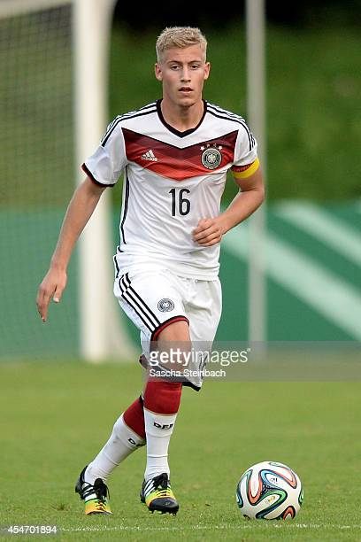 Mart Ristl of Germany runs with the ball during the international friendly match between U19 Germany and U19 Netherlands at Sportpark Hoehenberg on...