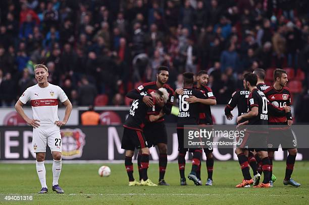 Mart Ristl of VfB Stuttgart reacts after the Bundesliga match between Bayer Leverkusen and VfB Stuttgart at BayArena on October 24 2015 in Leverkusen...