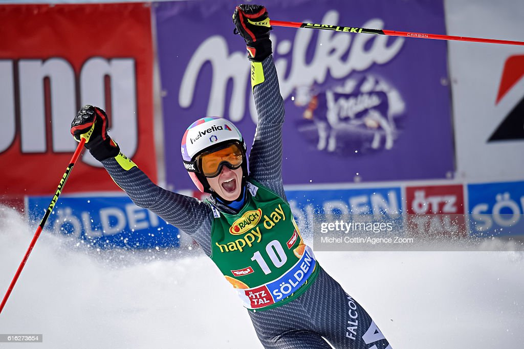 Marta Bassino of Italy takes 3rd place during the Audi FIS Alpine Ski World Cup Women's Giant Slalom on October 22, 2016 in Soelden, Austria