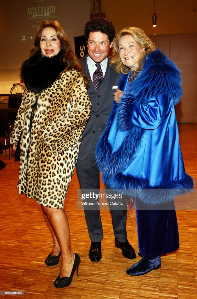 Marta Brivio Sforza, Matteo Marzotto and Marta Marzotto attend the Sotheby's charity auction for FFC Onlus on January 23, 2013 in Milan, Italy.
