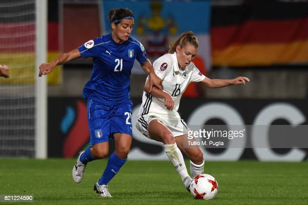 Marta Carissimi of Italy and Linda Dallmann of Germany compete for the ball during the UEFA Women's Euro 2017 Group B match between Germany and Italy...