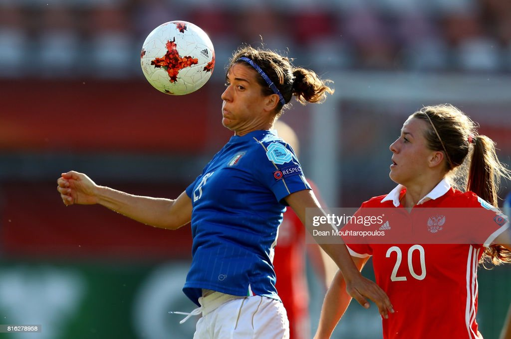 Marta Carissimi (L) of Italy and Margarita Chernomyrdina of Russia compete for the ball during the Group B match between Italy and Russia during the UEFA Women's Euro 2017 at Sparta Stadion on July 17, 2017 in Rotterdam, Netherlands.