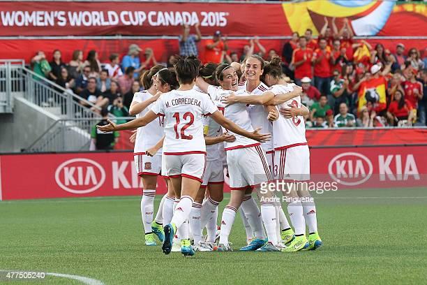 Marta Corredera Natalia Pablos and Alexia Putellas of Spain celebrate their first goal against Korea Republic with team mates during the FIFA Women's...