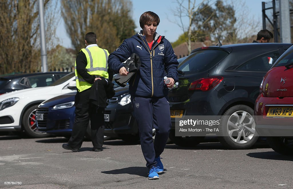 <a gi-track='captionPersonalityLinkClicked' href=/galleries/search?phrase=Marta+Corredera&family=editorial&specificpeople=8671709 ng-click='$event.stopPropagation()'>Marta Corredera</a> of Arsenal arrives at Meadow Park prior the WSL match between Arsenal Ladies and Birmingham City Ladies at Meadow Park on May 1, 2016 in Borehamwood, England.