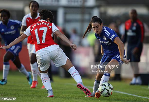 Marta Corredera of Arsenal Ladies FC and Claire Rafferty of Chelsea Ladies FC during the FA WSL match between Arsenal Ladies FC and Chelsea Ladies FC...
