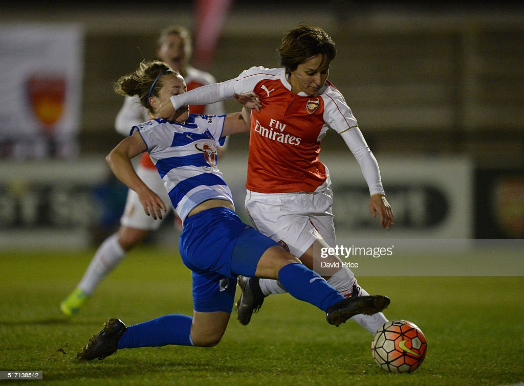 Marta Corredera of Arsenal Ladies takes on Rebecca Jane of Reading during the match between Arsenal Ladies and Reading FC Women on March 23, 2016 in Borehamwood, England.