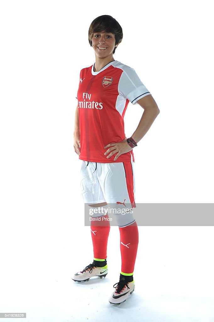 Marta Corredera of the Arsenal Ladies during their photocall at London Colney on June 16, 2016 in St Albans, England.