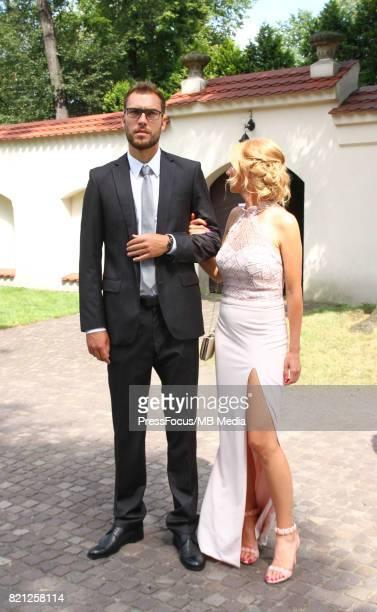 Marta Domachowska Jerzy Janowicz during the wedding ceremony of Agnieszka Radwanska and Dawid Celt on July 22 2017 in Krakow Poland