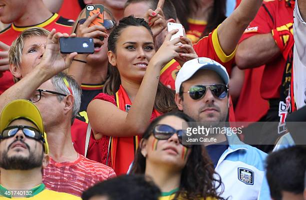 Marta Dominguez girlfriend of goalkeeper of Belgium Thibaut Courtois attends the 2014 FIFA World Cup Brazil Quarter Final match between Argentina and...
