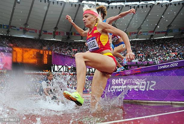 Marta Dominguez of Spain competes in the Women's 3000m Steeplechase Round 1 Heatson Day 8 of the London 2012 Olympic Games at Olympic Stadium on...