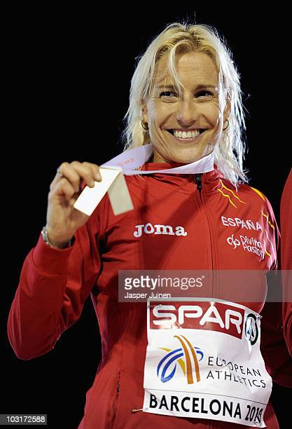 Marta Dominguez of Spain receives the silver medal in the Womens 3000m Steeplechase during day four of the 20th European Athletics Championships at...