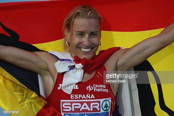 Marta Dominguez of Spain wins the silver medal in the Womens 3000m Steeplechase Final during day four of the 20th European Athletics Championships at...