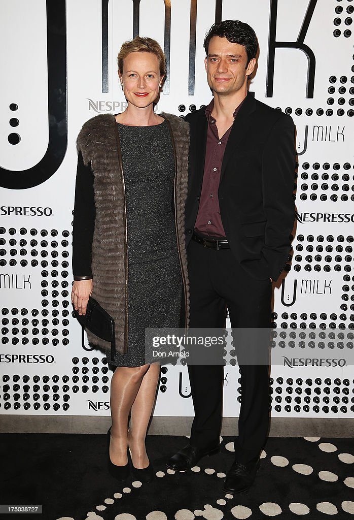 Marta Dusseldorp and Ben Winspear arrive at the Nespresso Umilk machine launch on July 30, 2013 in Sydney, Australia.